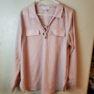 Calvin Klein Pink Lace Up Long Sleeve Blouse